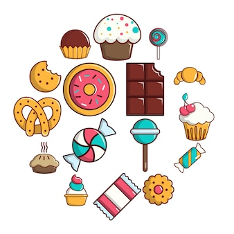 Bonbonsüßigkeitskuchen-ikonensatz, karikaturart