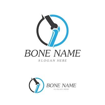Bone plus-logo. gesunder knochen-symbol. logovorlage für den schutz von knieknochen und gelenken. medizinisches flaches logo-design. vektor der gesundheit des menschlichen körpers. emblemsymbol
