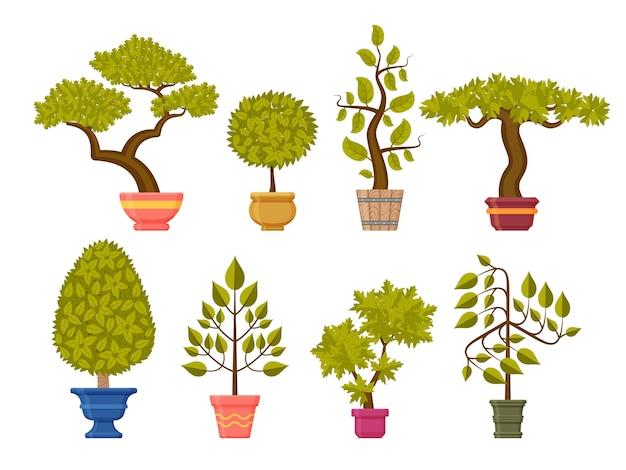 Bonsai-baumsatz. zierpflanzen in blumentöpfen. illustration.