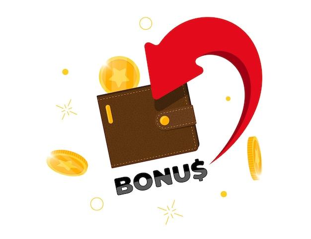 Bonus cashback einkommen treueprogramm werbekonzept. goldmünzen wurden in die brieftasche zurückgegeben. sammeln sie punkte, um das promo-programm zu kassieren. sparen sie geld oder cash-back-symbol vektor isolierte eps-illustration