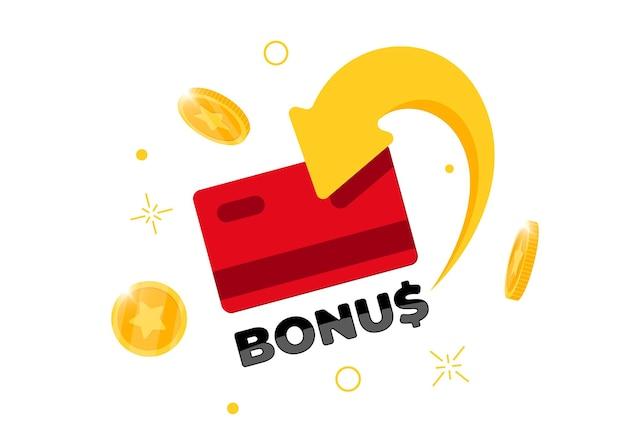 Bonus cashback einkommen treueprogramm zeichen konzept. kredit- oder debitkarte aus plastik mit zurückgegebenen münzen auf das bankkonto. geldservice-design zurückerstatten. punkte cash-back-symbol vektor isolierte illustration