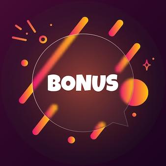 Bonus. sprechblasenbanner mit bonustext. glasmorphismus-stil. für business, marketing und werbung. vektor auf isoliertem hintergrund. eps 10.