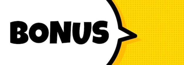 Bonus. sprechblasenbanner mit bonustext. lautsprecher. für business, marketing und werbung. vektor auf isoliertem hintergrund. eps 10.