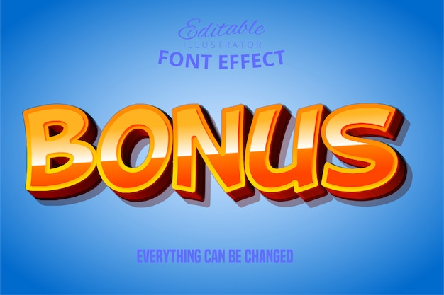 Bonus-text, bearbeitbarer font-effekt in rot und gelb 3d