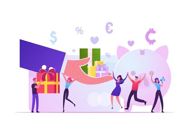 Bonuskarte, treueprogramm, belohnung verdienen, geschenk einlösen, vergünstigungskonzept. karikatur flache illustration