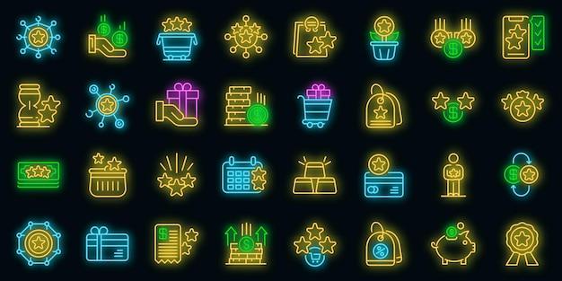 Bonussymbole gesetzt. umrisse von bonusvektorsymbolen neonfarbe auf schwarz
