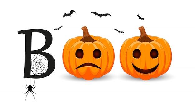 Boo. briefgestaltung mit lächelndem kürbischarakter. orange kürbis mit lächeln für ihr design für den feiertag halloween.