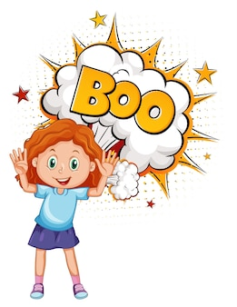 Boo-wort zur bombenexplosion mit einer isolierten mädchen-cartoon-figur