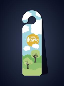 Bookmark mit wolken sonne und bäume symbol. reiseführer dekoration lesung und literatur thema. colorfu