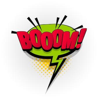 Boom bang wow sound comic-texteffekte vorlage comics sprechblase halbton pop-art-stil
