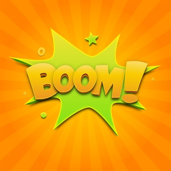 Boom-comic-sprechblasentext und soundeffekt