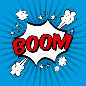 Boom-comics-ikone über blauer hintergrundvektorillustration