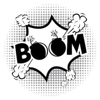 Boom-comics-symbol über gepunktete hintergrund-vektor-illustration