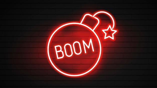 Boom leuchtreklame. glühende neon-boom-inschrift. night bright werbung. illustration für nachtparty