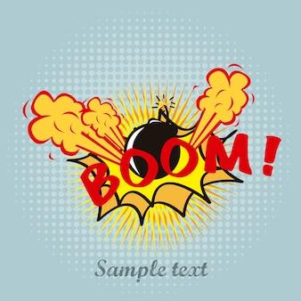 Boom-pop-art über blauer hintergrundvektorillustration