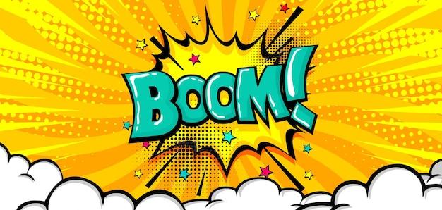 Boom-text-sprechblase auf comic-hintergrund