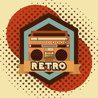 Boombox radio kassette retro vintage halbton hintergrund