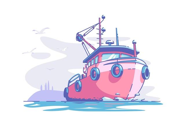 Boot, das auf see vektorillustration rotes schiff im ozean schwimmt, um flache art marine- und transportschiffkonzept-möwen in der luft lokalisiert zu tragen