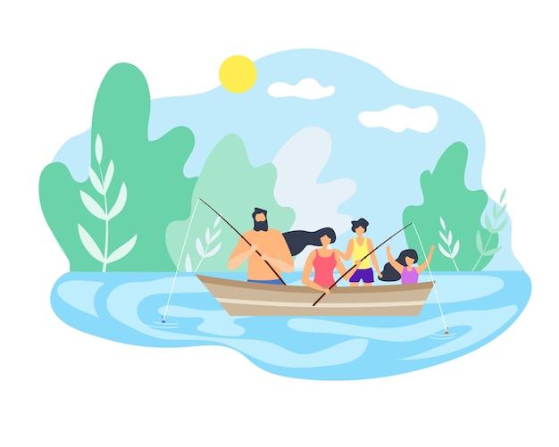 Boot, das hinunter flussfischen gutes wetter schwimmt.