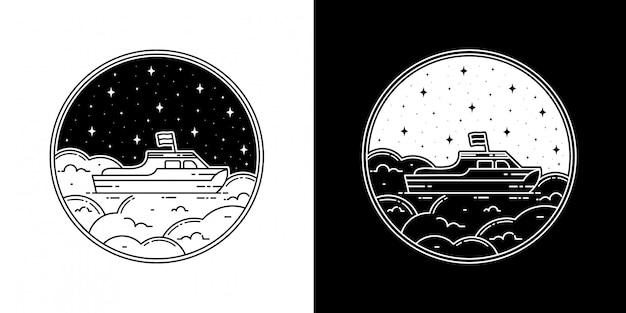 Boot in der wolke monoline abzeichen design