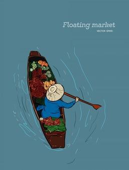 Boot in einem sich hin- und herbewegenden markt in thailand