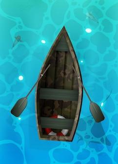 Boot mit rudern. türkisfarbene wasseroberfläche im ozean mit fischen.