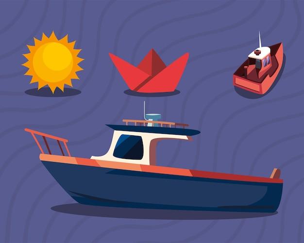 Boot mit symbolsatz