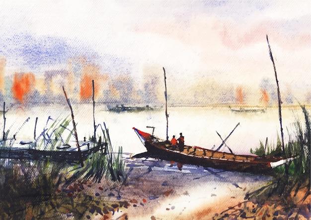Boot und bootsmann auf flussaquarellkunst und -design