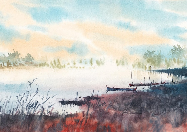 Boot und fluss aquarell handfarbe