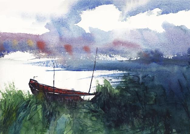 Boot und natur flusslandschaft aquarellmalerei