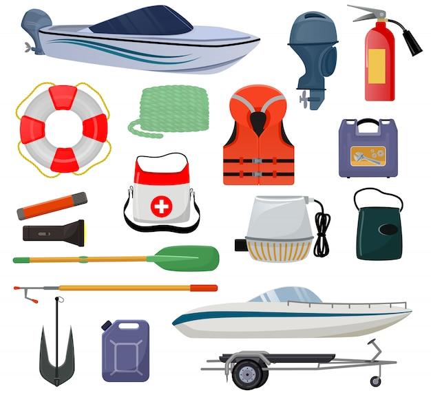 Bootsausrüstungsvektor-motorbootyacht mit schwimmwestenrettungsring-ankermarinesatz seesegelbootsegeln oder schnellbootversandtransport