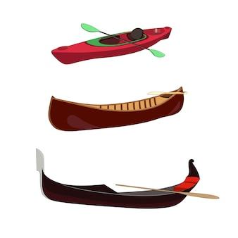 Bootsset: gondel venezianisches traditionelles rohboot. kanu holzboot. sportrennkajak mit paddel. isolierte grafische darstellung