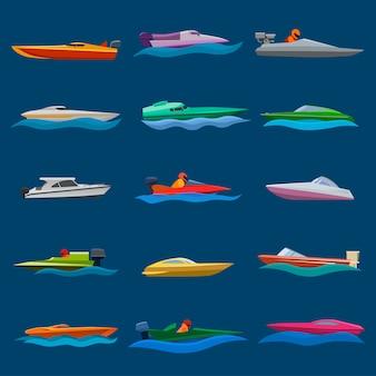 Bootsvektorgeschwindigkeits-motorbootyacht, die in ozeanillustrations-seesatz reist