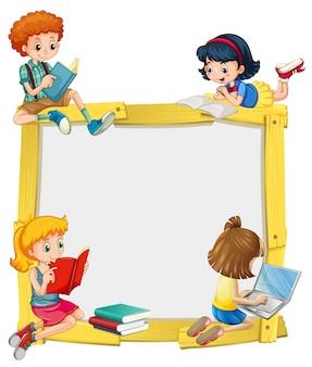 Border design mit kindern zu lesen und machen hausaufgaben