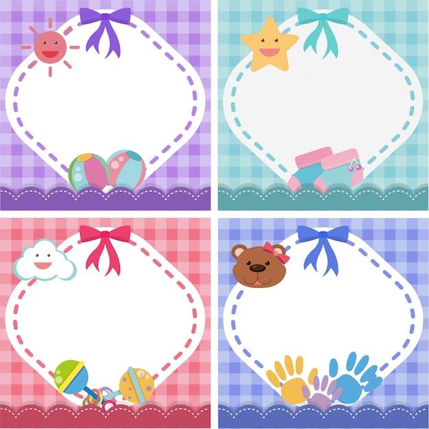 Border-vorlage mit baby-thema in vier farben
