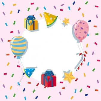 Border-vorlage mit ballons und party-elementen