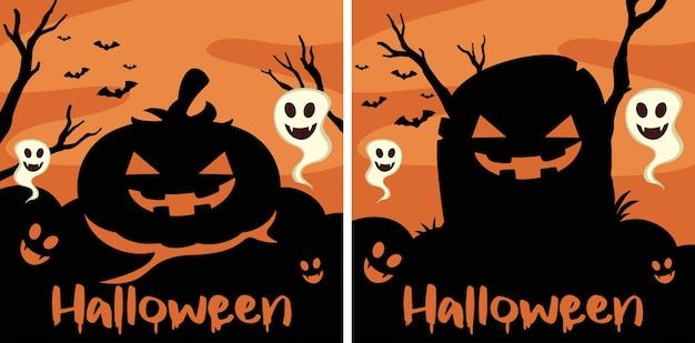 Border-vorlage mit halloween-kreaturen Premium Vektoren