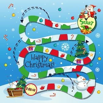 Bordgame-vorlage mit weihnachtsthema