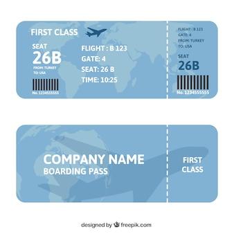 Bordkarte mit karte und flugzeug hintergrund