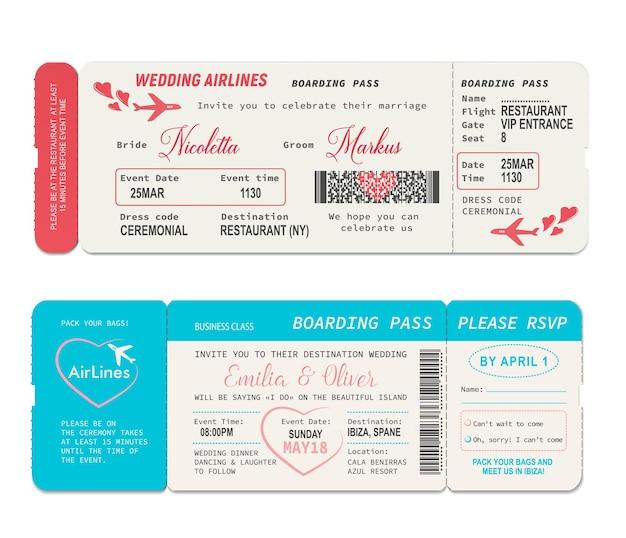 Bordkarten, vektorvorlage für hochzeitseinladungen. bordkarte für den flug der hochzeitsfluggesellschaft, flugreisegutschein oder reisepass, hochzeitszeremonie oder hochzeitsurlaub laden design mit herzen ein