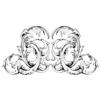 Bordüre und rahmen im barockstil. ornamentelemente für ihr design. schwarzweiss-farbe. blumengravurdekoration