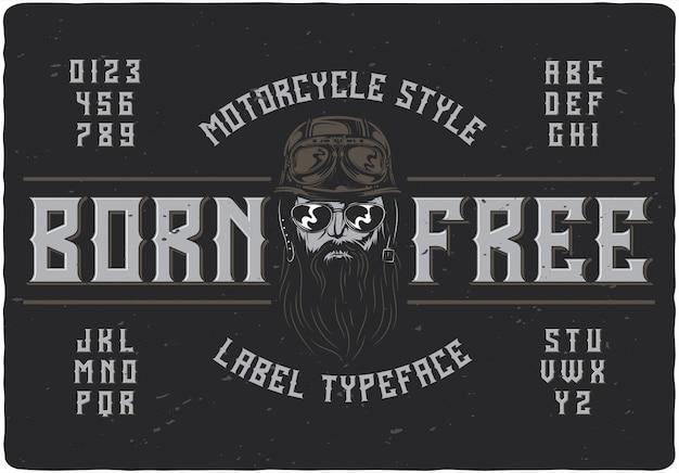 Born free vintage schriftzug
