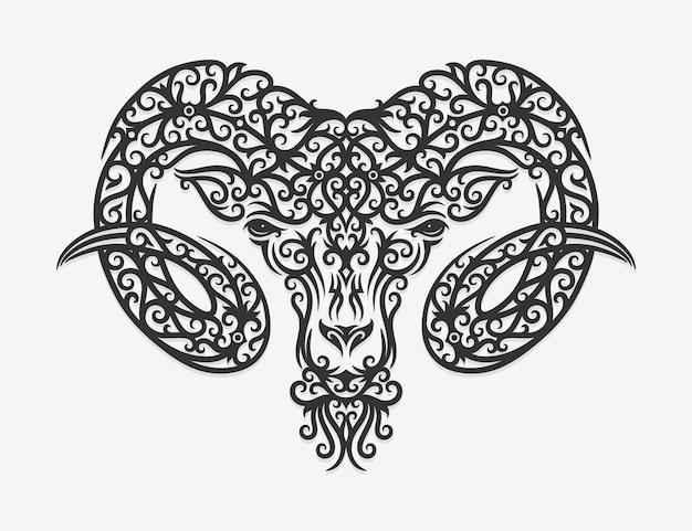Borneo kalimantan dayak ornament ram illustration