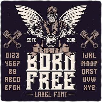 Bornh kostenlose vintage label schrift