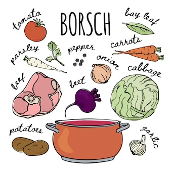 Borscht-rezept russische küche suppe