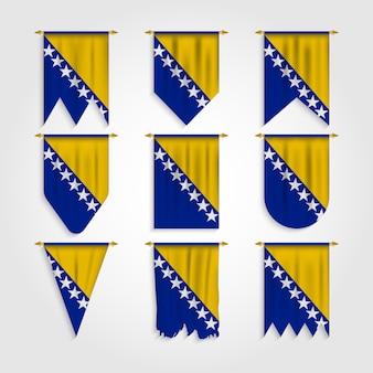 Bosnien und herzegowina flagge in verschiedenen formen