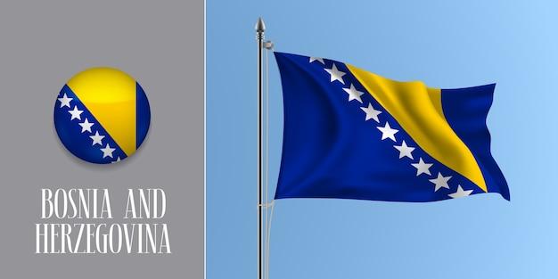 Bosnien und herzegowina winkende flagge auf fahnenmast und runde symbolillustration