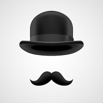 Boss gentleman mit schnurrbart und melone illustration