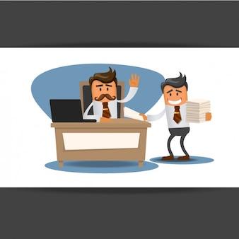Boss und geschäftsmann im büro