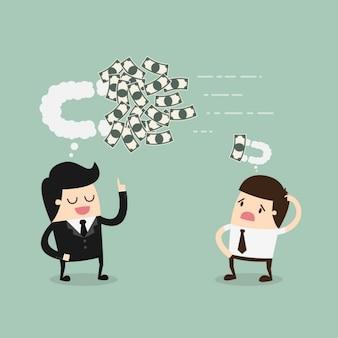 Boss und mitarbeiter denken über geld